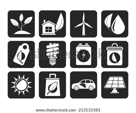 Silhouette Green and Environment Icons - vector icon set
