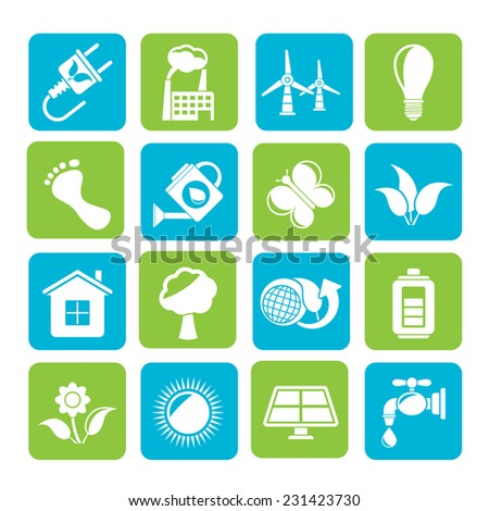 Silhouette Green, Ecology and environment icons - vector icon set - stock vector