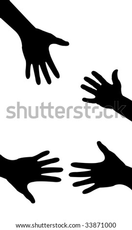 silhouette hand , helping hand - stock vector