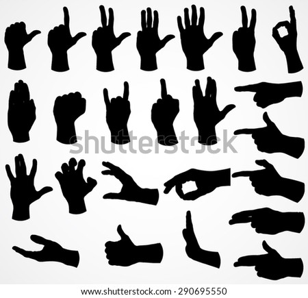 silhouette hand set / vector illustration