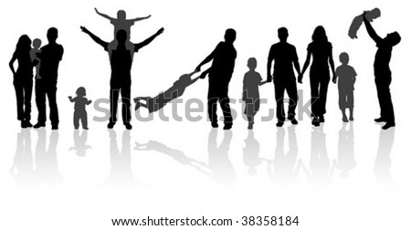 Silhouette Happy Family on Walk in Action, Vector Illustration for Design