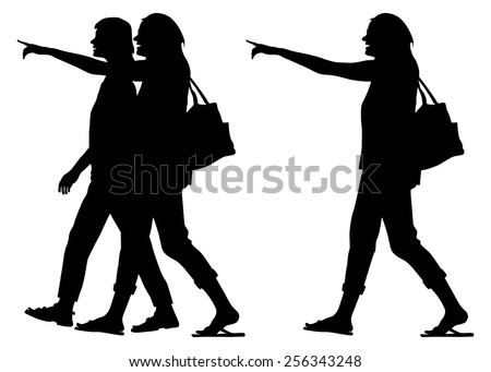 Silhouette happy young women with shopping bags pointing finger in mall,vector - stock vector