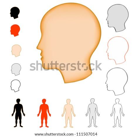 silhouette head and silouette figure - stock vector
