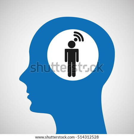 silhouette head wireless wifi man icon vector illustration eps 10