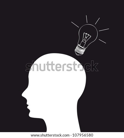 silhouette head with bulb electric. vector illustration - stock vector