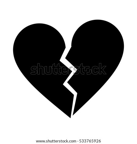 silhouette heart broken sad separation stock vector 533765926