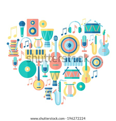 Silhouette heart with musical instruments. Flat style - stock vector
