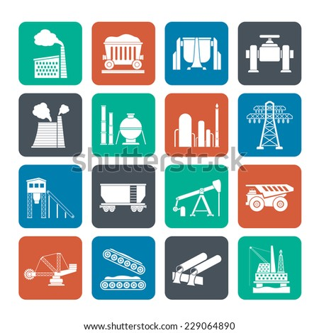 Silhouette Heavy industry icons - vector icon set - stock vector