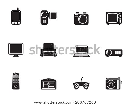 Silhouette Hi-tech technical equipment icons - vector icon set
