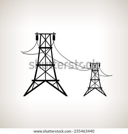 Silhouette high voltage power lines on a light background,  black and white  vector illustration - stock vector