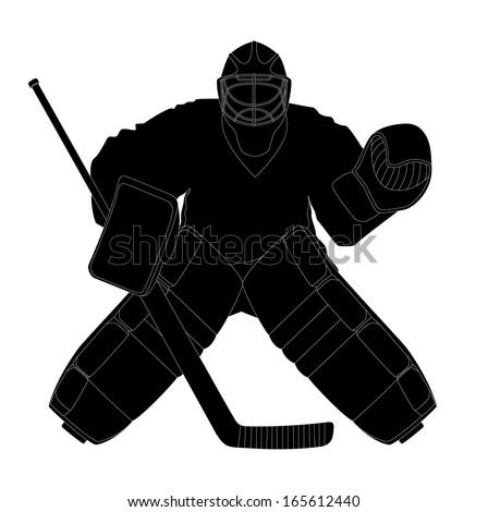 Silhouette hockey goalie - stock vector