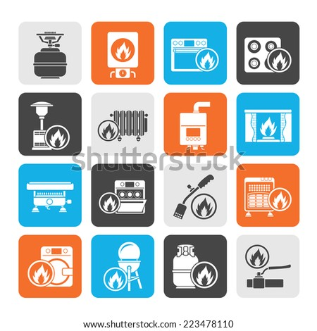 Silhouette Household Gas Appliances icons - vector icon set - stock vector