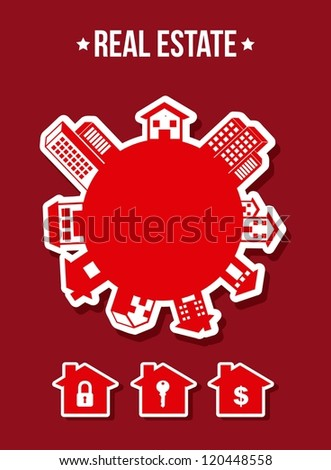 silhouette houses over red background. vector illustration - stock vector