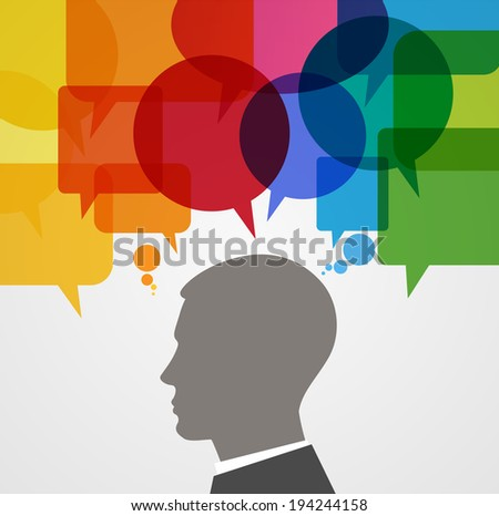 Silhouette human head surrounded by brightly colored speech bubbles.  Concept of communication. File is saved in AI10 EPS version. This illustration contains a transparency    - stock vector