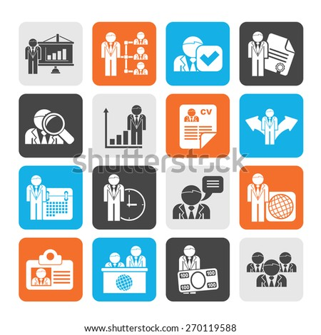 Silhouette Human resource and employment icons  -vector icon set