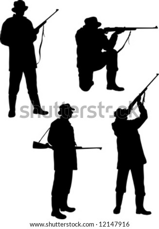 silhouette hunters on white background - stock vector
