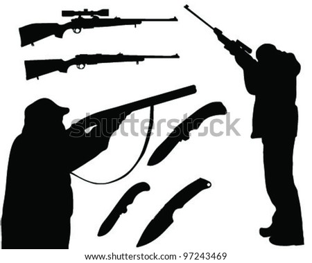 Silhouette hunters, rifles and knives on white background, vector
