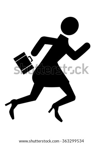 Business woman running silhouette