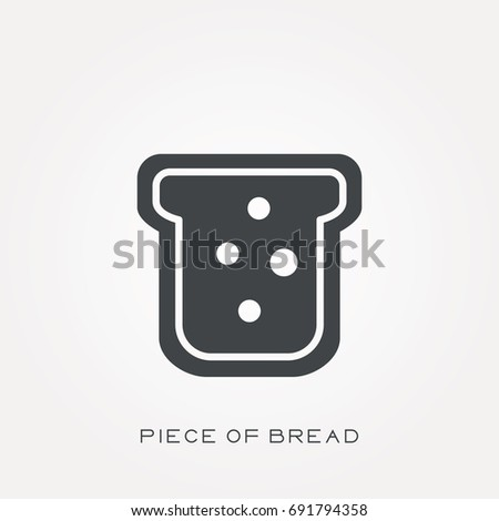Silhouette icon piece of bread