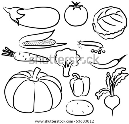 Silhouette icons of various vegetables - stock vector