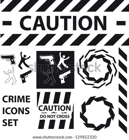 Silhouette icons set Caution, danger, and police crime concept design elements - stock vector