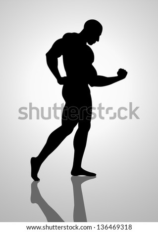 Silhouette illustration of a bodybuilder - stock vector