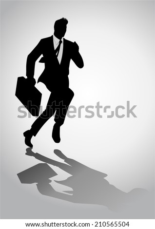 Silhouette illustration of a businessman running with a briefcase - stock vector