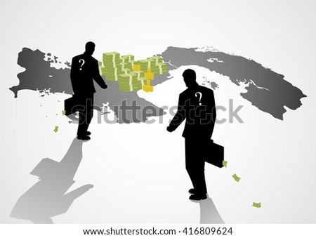 Silhouette illustration of a businessmen with suitcase walking to the map of Panama, Panama papers, scandal, corruption concept - stock vector