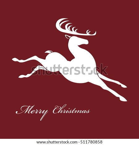 silhouette illustration of a Christmas deer, which quickly slip