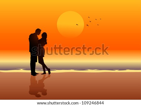 Silhouette illustration of a couple on the beach - stock vector