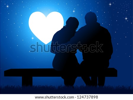 Silhouette illustration of a couple sitting on a bench, watching the glowing heart - stock vector