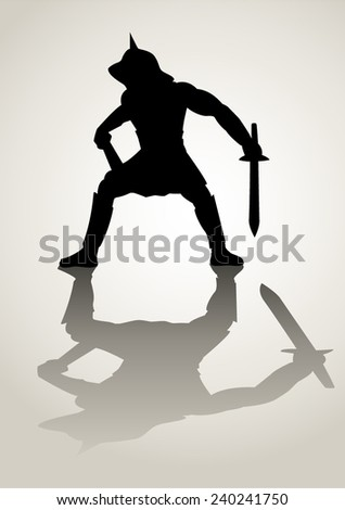 Silhouette illustration of a gladiator in ready to fight stance  - stock vector