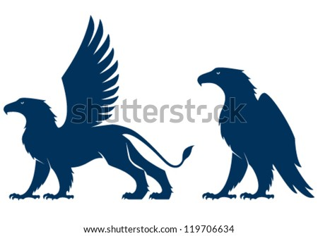 silhouette illustration of a griffin and an eagle - stock vector
