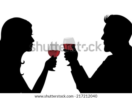 Silhouette illustration of a man and woman having a glass of wine - stock vector