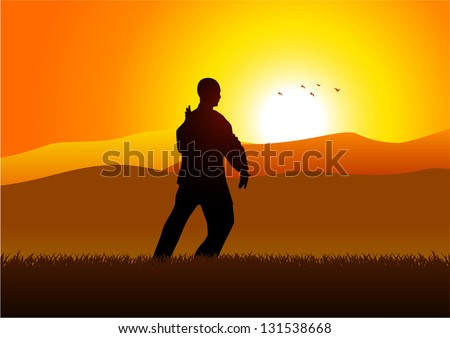 Silhouette illustration of a man figure doing taichi - stock vector