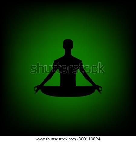 Silhouette illustration of a man figure meditating - stock vector