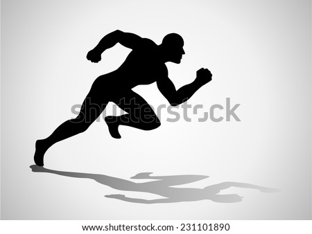 Silhouette illustration of a man figure off to a fast start - stock vector