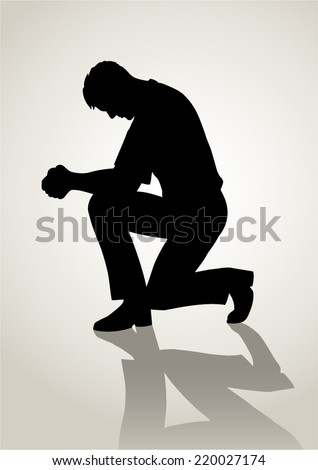Silhouette illustration of a man praying - stock vector