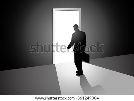 Silhouette illustration of a man walking into a bright door
