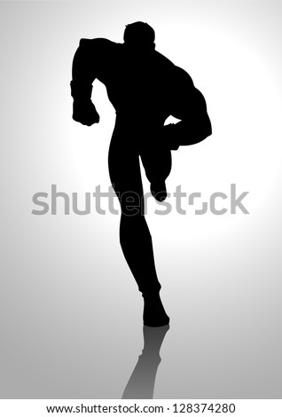 Silhouette illustration of a muscular male figure running - stock vector