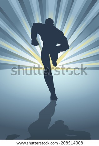 Silhouette illustration of a muscular male figure running in front of light burst - stock vector
