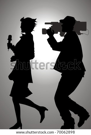 Silhouette illustration of a reporter and a cameraman