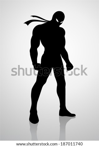 Silhouette illustration of a superhero in a mask - stock vector