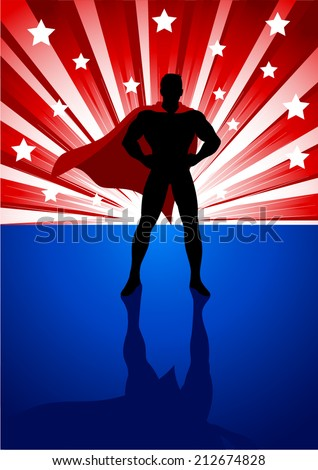 Silhouette illustration of a superhero standing in front of light burst  - stock vector