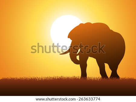Silhouette illustration of an elephant against sunset background - stock vector