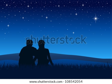 Silhouette illustration of couples sitting on the grass watching the night sky - stock vector