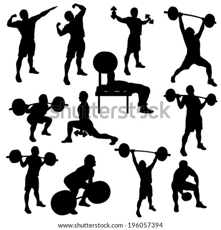 silhouette illustration of different male athletes which are working out - stock vector