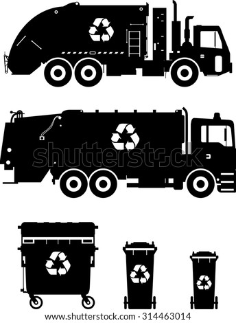 Silhouette illustration of garbage trucks and dumpsters isolated on white background - stock vector