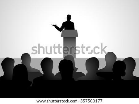 Silhouette illustration of man figure giving a speech on stage.