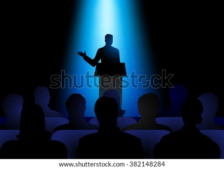 Silhouette illustration of man figure giving a speech on stage. Audience, seminar, conference theme - stock vector